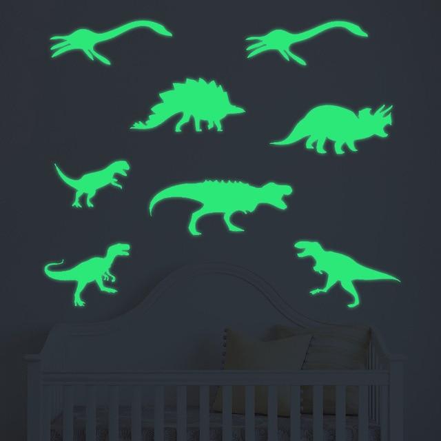 luminous dinosaur wall stickers glow in the dark kids baby bedroom