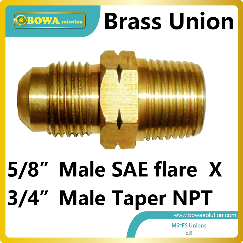 5/8 male SAE flare to 3/4 Male Taper NPT brass union for tandem compressor unit large cooling capacity indepedent electronic expansion valves eev unit suitable for tandem compressor unit or compressor rack