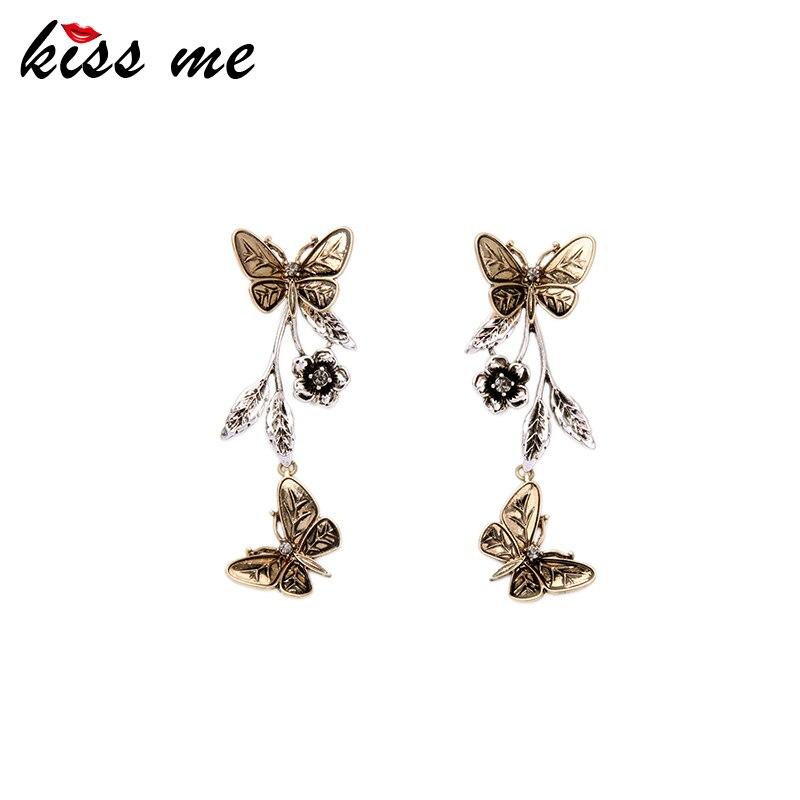 Detachable Alloy Retro Butterfly Flowers Earrings for Women Famous Brand Jewelry New Design Danging Earrings