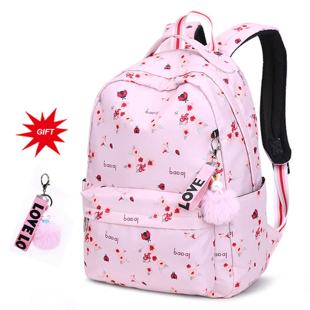 Cute Pink Printed Backpack Women Fashion Travel Backpack Kids Large Schoolbag Junior High School Students School Bag For Girls