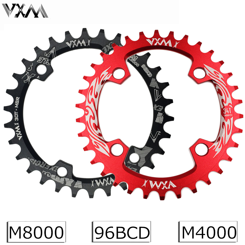 VXM 96BCD Bicycle Chainring 30T/32T/34T/36T/38T Narrow Wide Round Oval Cycle Chainwheel Bike Circle Crankset Plate Bicycle Parts shimano slx m7000 crankset 1x11 speed chain wheel crank with deckas 96bcd narrow wide chainring 30t 32t 34t 36t 38t with bb52