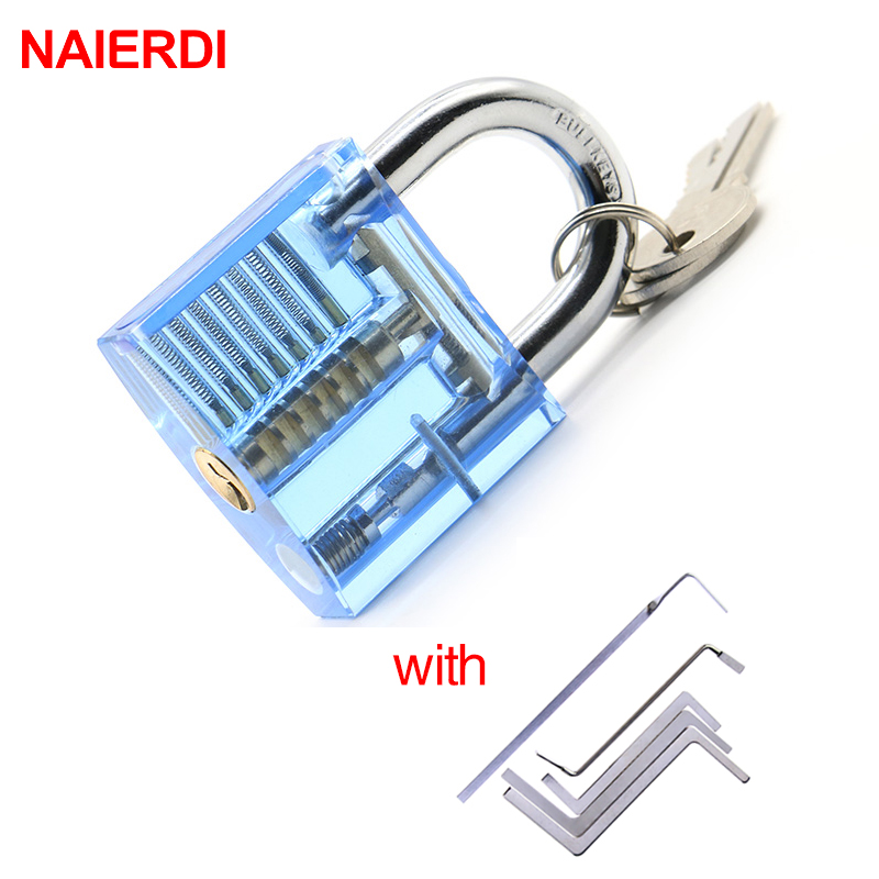 NAIERDI Locksmith Wrench Tool Lock Pick Transparent Visible Cutaway Practice Padlock With Broken Key Removing Hook Extractor Set neje 15 in 1 stainless steel hook lock pick set locksmith tool silver black