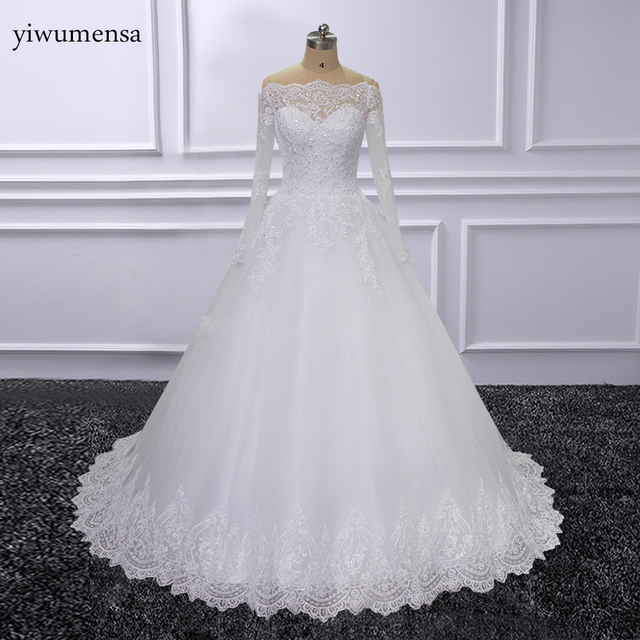 Real Model Ball Gown Wedding Dresses 2018 Lace Applique Bride Dress