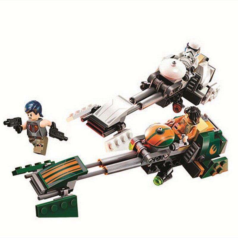 252Pcs Star Wars Rebels Ezras Speeder Bike Building Block Toys Enlighten Figure Gift For Children Compatible Legoings 75090