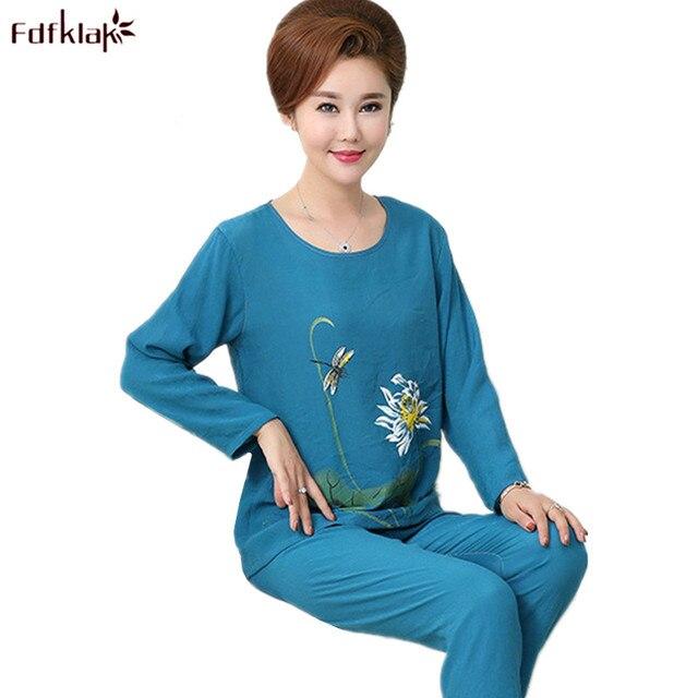 4be53fae3 Fdfklak Spring Summer Pajamas Set Ladies Cotton Pajama Print Casual  Sleepwear Pijamas Suit Pyjamas Women Plus Size XL-4XL