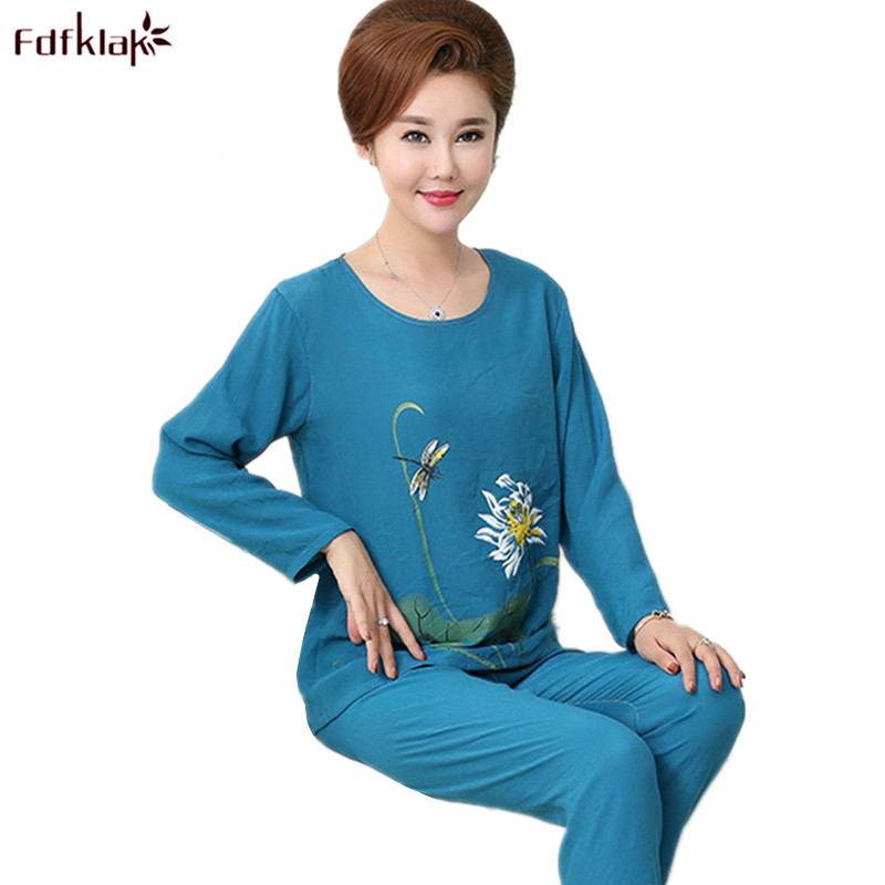 Fdfklak Spring Summer   Pajamas     Set   Ladies Cotton   Pajama   Print Casual Sleepwear Pijamas Suit Pyjamas Women Plus Size XL-4XL