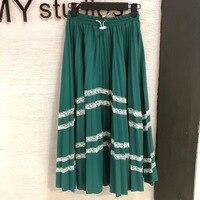 Зеленая юбка Для женщин высокое качество сезон: весна–лето Для женщин Юбки для женщин эластичные белый полосатый Юбки для женщин Для женщи