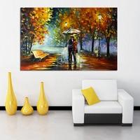 كبيرة هاندبينتيد المشهد سكين وحة زيتية على قماش عاشق المطر الشارع شجرة مصباح جدار الفن صورة لغرفة المعيشة المنزل ديكور-في الرسم والخط من المنزل والحديقة على