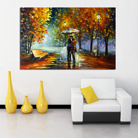 Large Handpainted Landscape knife Oil Painting On Canvas Lover Rain Street Tree Lamp Wall Art Picture For Living Room Home Decor
