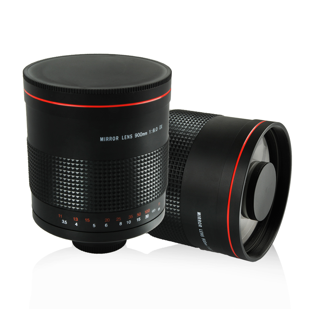 900mm f/8.0 Super Miroir Téléobjectif Mise Au Point Manuelle Lentille + T2 Mount Adapter Ring Pour Canon Nikon Pentax Sony Olympus DSLR caméra