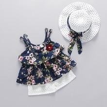 WYNNE GADIS Summer Baby Girls Floral Print Spaghetti Strap Ruffles Blouse Tops + Lace Beach Shorts Kids Clothing Sets 2Pcs Suits