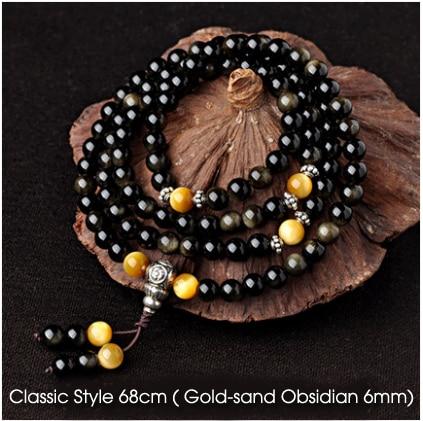 Espécies de gelo de Obsidiana pulseira 108 contas Buddha Fengshui Ouro ouro  pulseiras de pedra de obsidiana pi xiu acessórios Talão de Diâmetro 6mm 454d624c1e