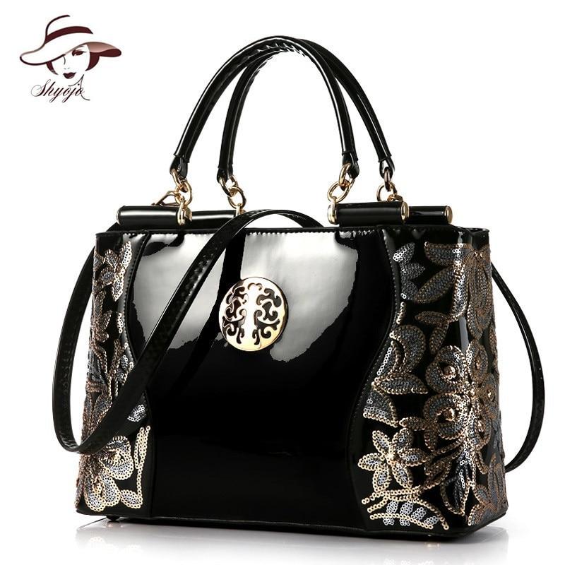 2018 Luxury Real Patent Leather Women Handbag Famous Brand Shoulder Bag Fashion Tote Clutch Designer Diamond Large Messenger Bag все цены