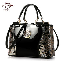 2018 Luxury Real Patent Leather Women Handbag Famous Brand Shoulder Bag Fashion Tote Clutch Designer Diamond Large Messenger Bag