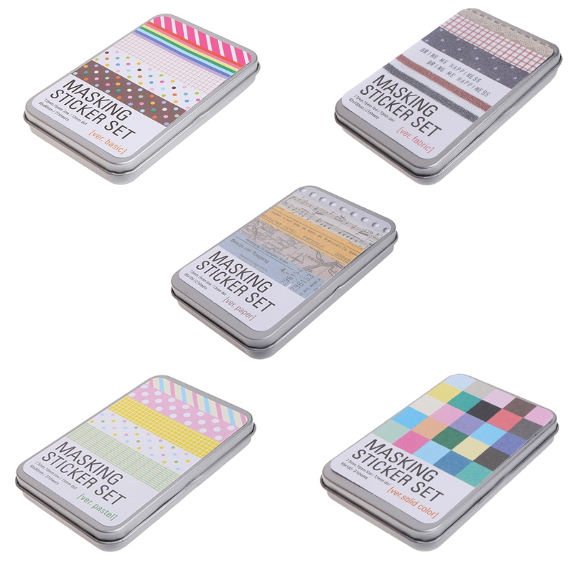 цена 27 sheets/set Tape Stickers Scrapbooking Adhesives Basic Masking Stickers Tin Case Art Decorative Tape Craft