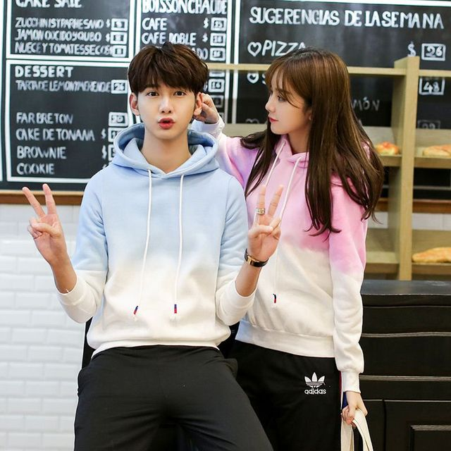 Korean couple clothing lovers spring thickening velvet hoodies male female  matching loose style hooded pullover sweatshirt