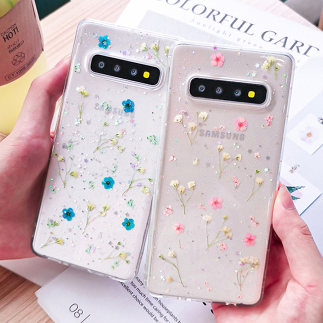 Transparent Shining Glitter Dried Flower Phone Case For Samsung Galaxy S10 S9 Plus Fashion Real Flowers Back Cover For Galaxy S9