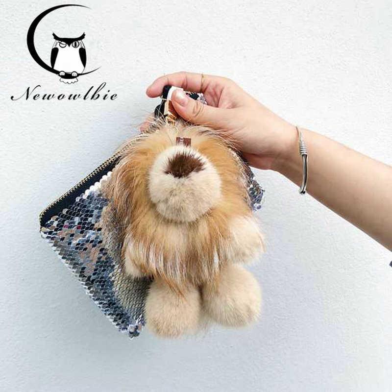 2018 Magic toy lion mink fur plus fox fur doll doll key chain leather grass jewelry beautiful bag pendant car fur недорого