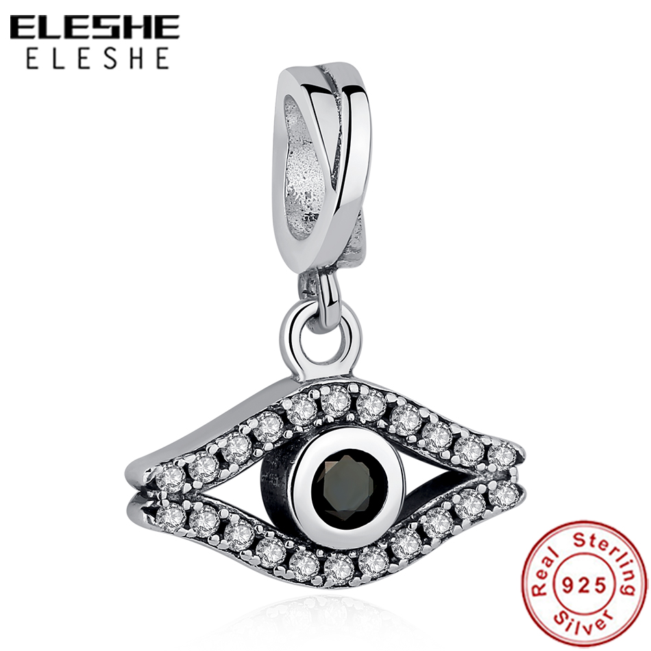 ELESHE 925 Sterling Silver Bead Charm Black Crystal Turkish Lucky Eye Charms Fit Original Pandora Bracelet Necklace DIY Jewelry in Beads from Jewelry Accessories