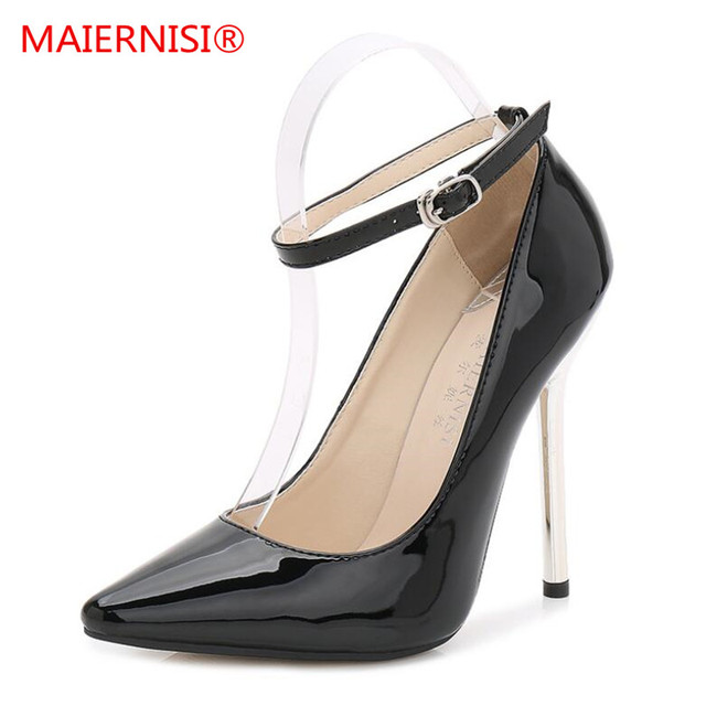 97e4d672437 Women Pumps High Heels Shoes 13 cm Black Stiletto Pointed Toe Woman Shoes  Sexy Party Shoes Nude Heels for Women Plus Size