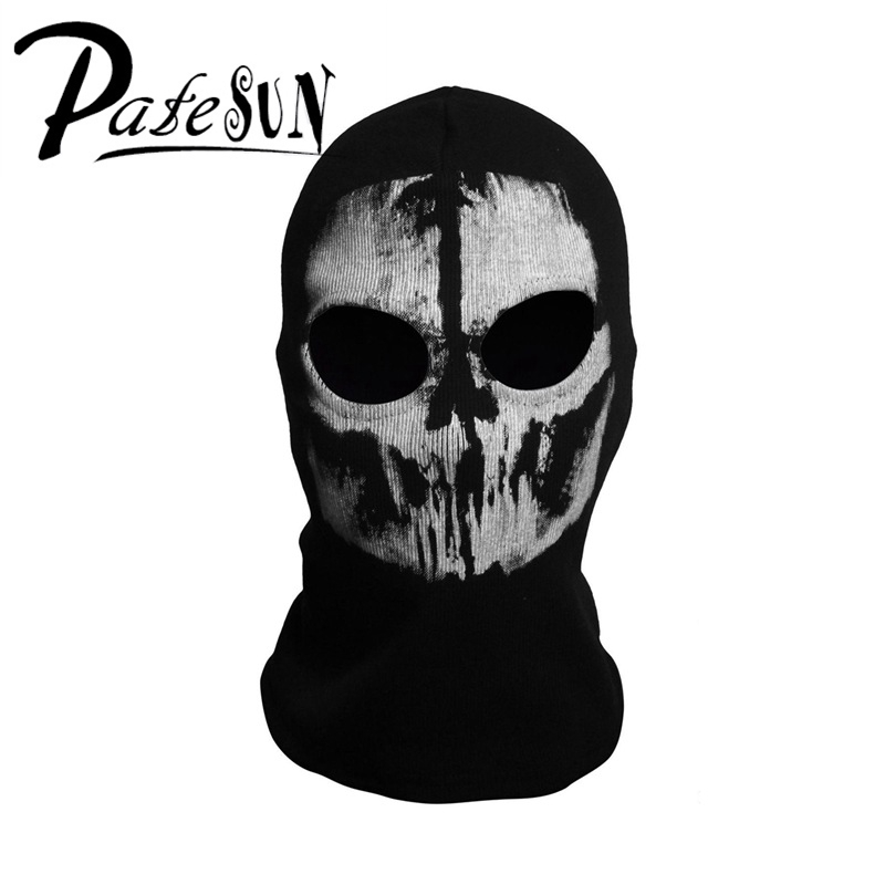 PATESUN Skull Balaclava Men Winter Hats Gothic Ghost Face cs go Mask Motorcycle Halloween Bicycling Caps bonnet airsoft adults cs field game skeleton warrior skull paintball mask