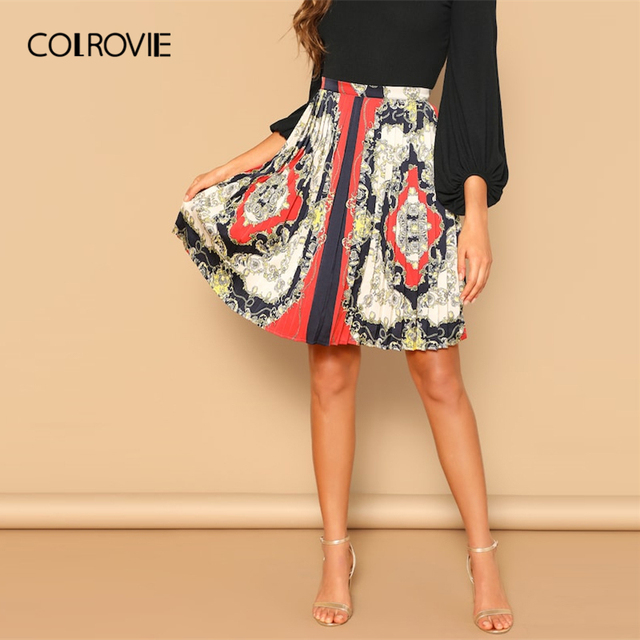 2067bfc53d COLROVIE Scarf Print Zip Elegant Pleated Skirt Women 2019 Korean Fashion  Casual Skirts A Line Sexy