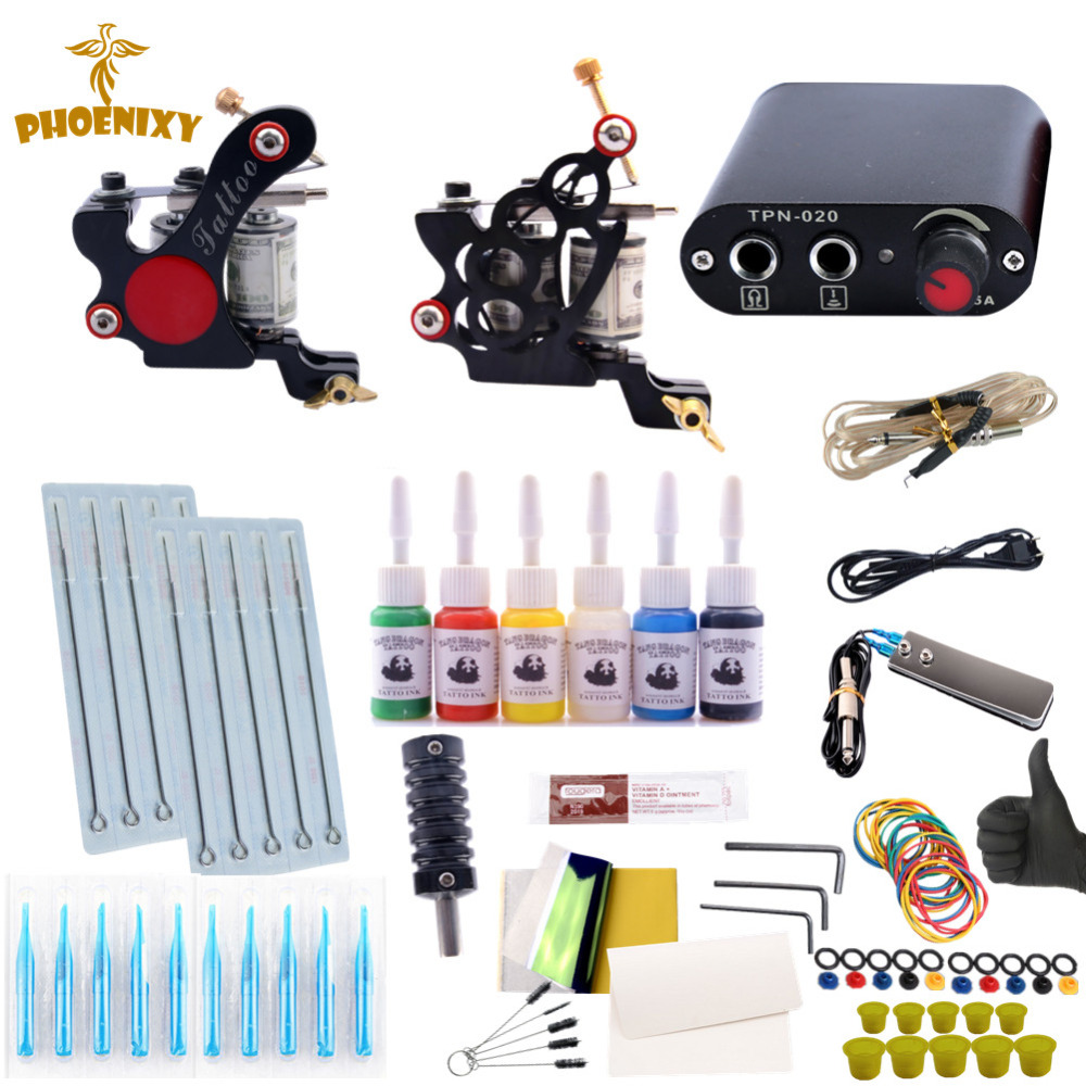 Tattoo Machine Kit Two Tattoo Guns Beginner Tattoo Supplies Professional Tattoo Kit Complete 6 Inks with Power Supply Clip Cord