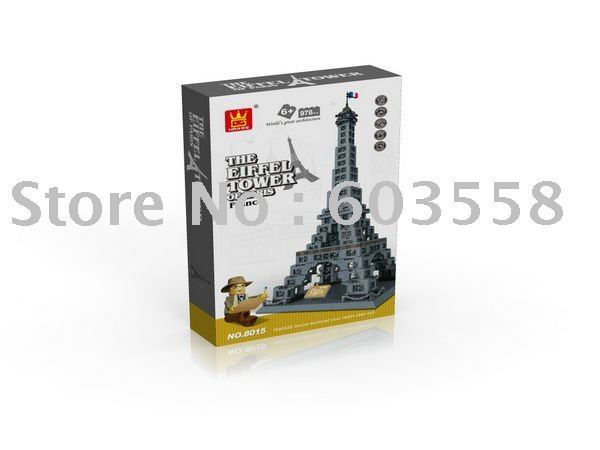 block series the Eiffel Tower of Paris(978PCS/box) France famous building block the famous building in the world