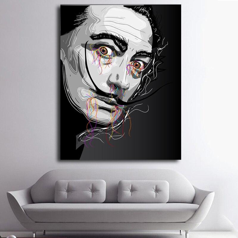 Salvador Dali negro blanco creativo retratos cartel impresión en ...