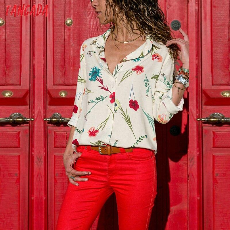 Tangada women blouse shirt floral autumn long lseeve boho chiffon blouse big size stripe casual ladies tops female clothing aon2 2