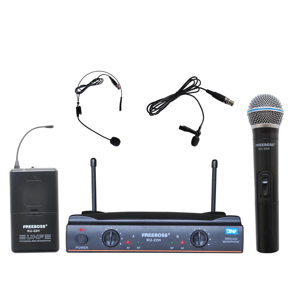 Prix pour Freeboss ku-22h uhf double canal mic émetteur professionnel karaoké sans fil casque + revers + de poche microphone