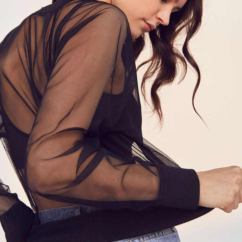 Neue 2020 Weibliche Sexy Perspektive Zipper Langarm Mesh Weiblichen Kurzen Crop Top Frauen Dünne Jacke JK730