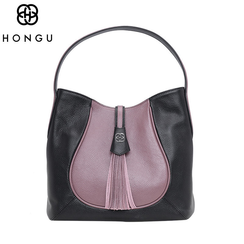 HONGU Luxury Designer Real Genuine Leather Shoulder Bags for Women Retro Soft Pattern  Wild Personality Tassel Ladies Hand Bags retro tiny bell tassel anklet for women