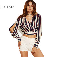 COLROVE Multicolor Striped Split Sleeve Plunge Crop Top Women Fashion Shirt Long Sleeve Deep V Neck