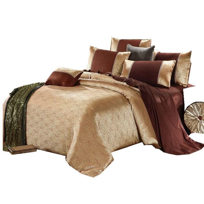 عالية الجودة قماش الجاكار الفاخر Comforterble سرير لحاف مجموعة غطاء الحرير و القطن الفراش مجموعات الملكة الملك الحجم-في مجموعات الفراش من المنزل والحديقة على  مجموعة 1