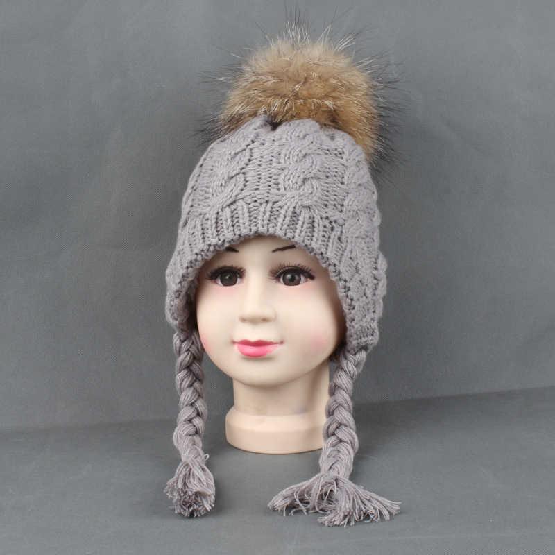... Kids Hats Winter Warm Fleece Liner Cap For Children Girls Cotton  Knitted Ponytail Beanie Real Fur ... fb2728c9e5d