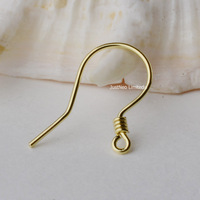 18K Gold Earring Hooks with Coils, Yellow White Rose Karat Solid 18ct oro French Earwire Dangle Pearl Earrings Findings