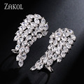 ZAKOL New Style White Gold Plated Top Quality Micro Pave Dazzling Cubic Zircon Angel Wings Cuff Earrings For Women FSEP419