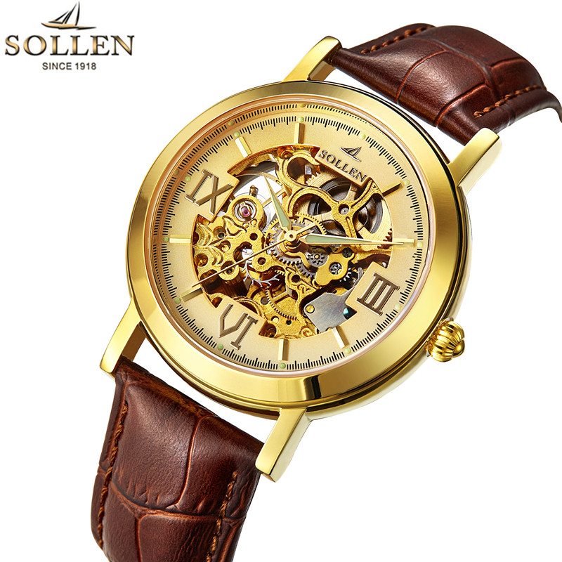 2017 SOLLEN Gold Hollow Automatic Mechanical Watches Men Luxury Brand Leather Strap Casual Fashion Skeleton Watch Clock relogio t winner luxury brand skeleton mechanical hand wind watch men casual sports leather strap gold fashion clock relogios masculino