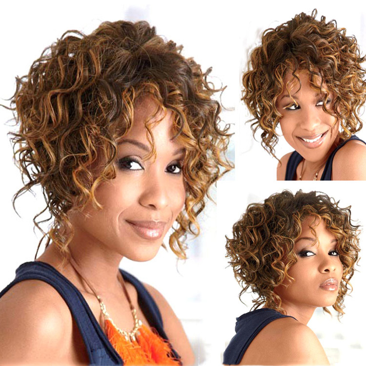 Girl S Cute Light Brown Short Curly Wig For Black Women
