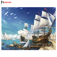 Sailboat Diy Diamond Painting Resin Square Drill The Sea Diamond Painting Full Rhinestone 40x60cm Free Shipping