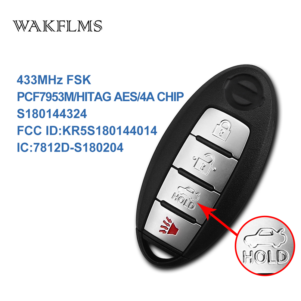 4 Buttons Smart Remote Car Key 433MHz Fob for Nissan Altima 2016 with PCF7953M Hitag AES