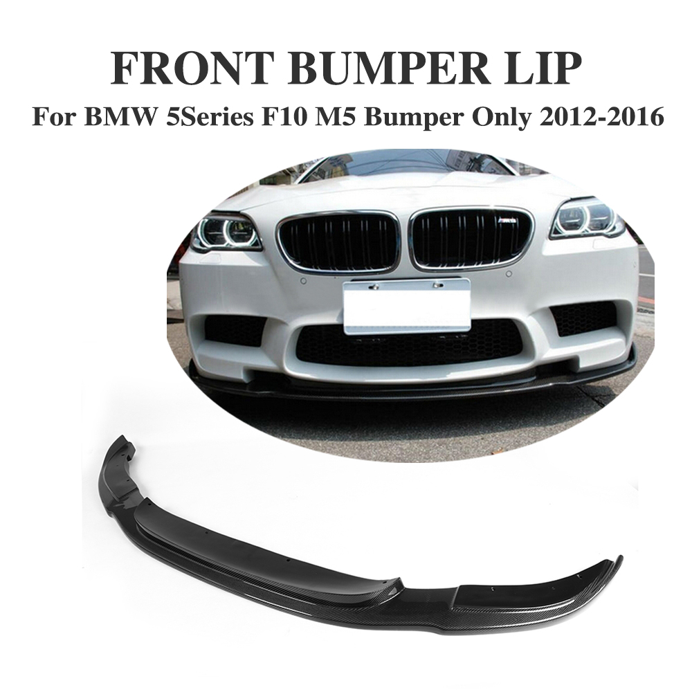 Carbon Fiber Front Bumper Lip Spoiler Chin for BMW 5 Series F10 M5 Bumper Only 2012-2016 HM Style Front Lip Kit цена