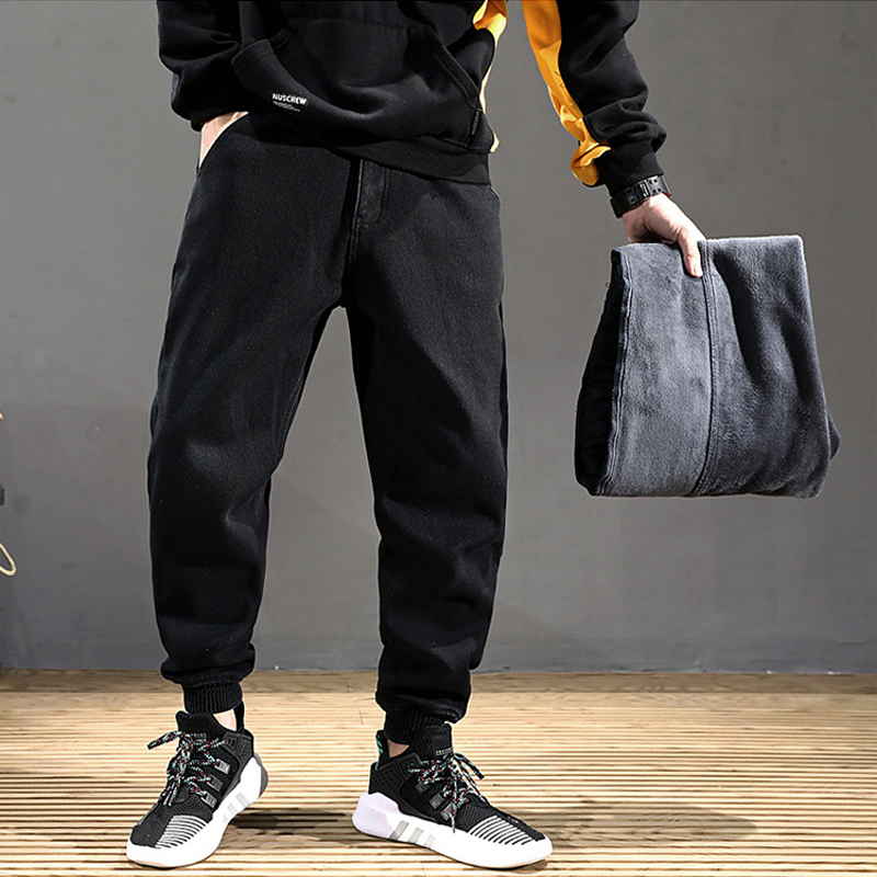 Fashion Winter Warm   Jeans   Men Black Color Loose Fit Thick Fleece Pants Patch Design Streetwear Hip Hop Velvet Jogger   Jeans   Homme