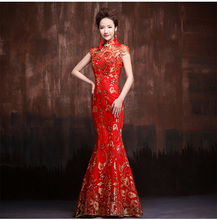 red vintage lace mermaid cheongsam dresses long evening china traditional sexy wedding