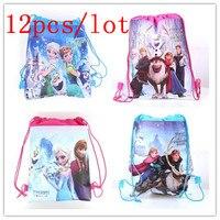 Disney Frozen 12 шт./партия, Детские Сумки На День Рождения мультфильм на шнурке, Детские Сумки на завязках, школьные сумки на завязках