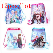 Disney Frozen 12Pcs/Lot Kids Birthday Party Cartoon Drawstring Bags Kids Favor String Back Bags School String Bags Supplies(China)