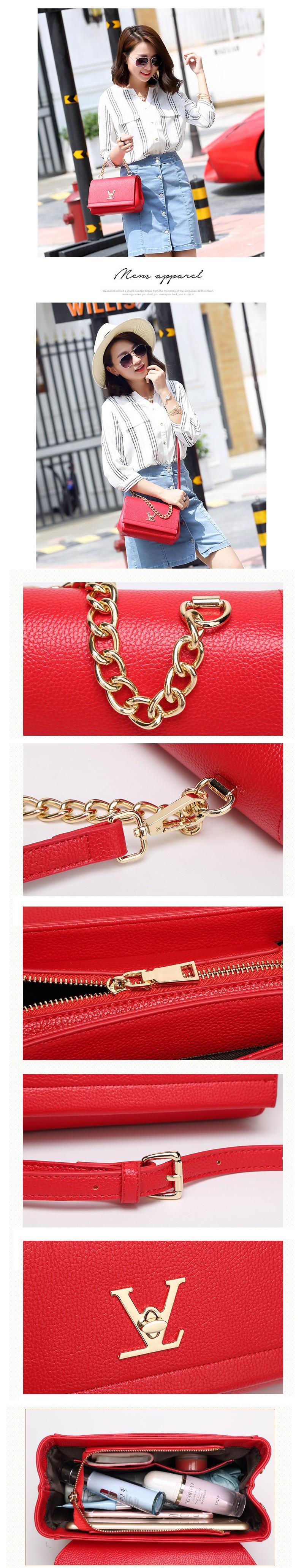 High Quality Loui Ladies Deform Litchi profile Bats Bag Women Chain Shoulder Leather Purses Handbags Bolsas Feminina Clutch (3)