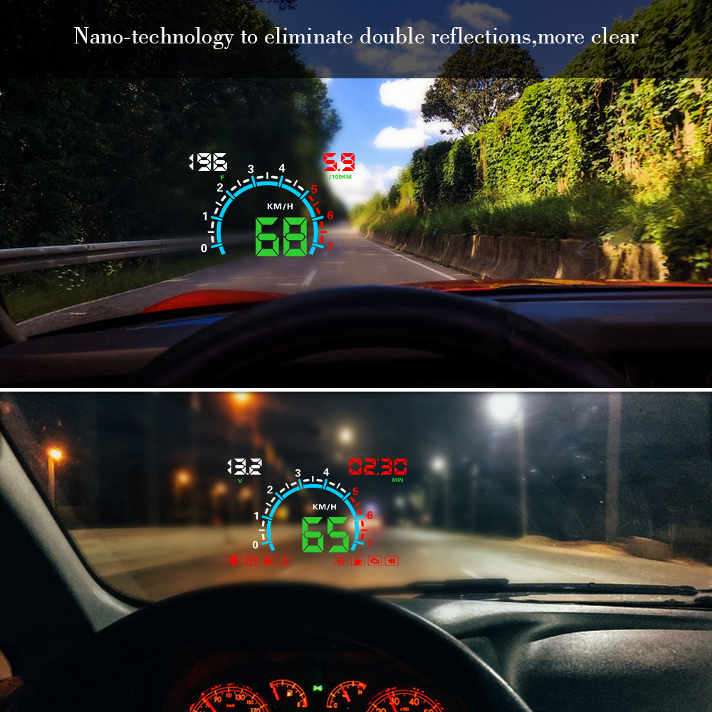 E350 OBD2 II HUD Car Display 5 8 Inch Screen Easy Plug And Play Overspeed Alarm Fuel Consumption display hud projector in Head up Display from Automobiles Motorcycles