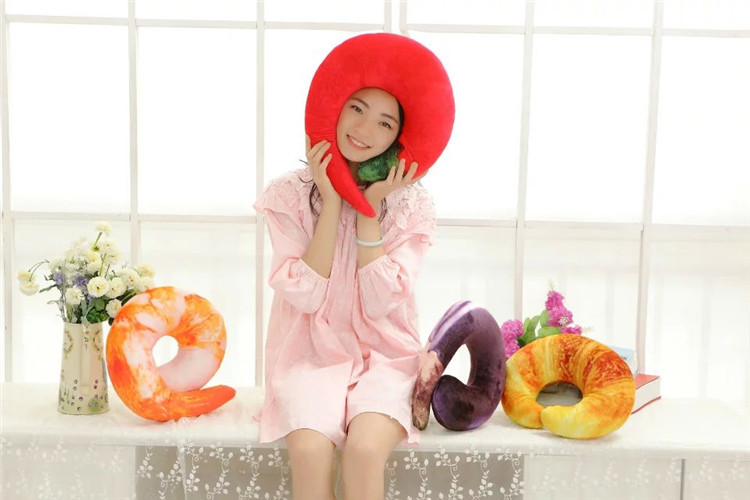 30*30cm Headrest Pepper Croissant Shrimp Shape Sofa Cushion Toy Doll Car Airplane Headrest Gift Birthday Office Neck Pillow image